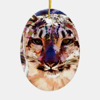 Snow Leopard Fun Ceramic Ornament