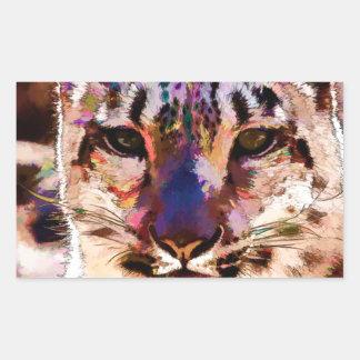 Snow Leopard Fun Rectangular Sticker