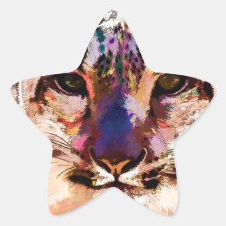 Snow Leopard Fun Star Sticker