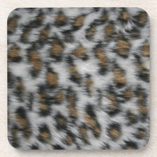 Snow Leopard Fur Beverage Coasters