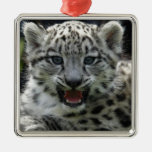 Snow Leopard Kitten Square Metal Christmas Ornament