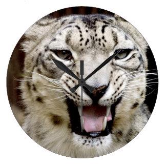 Snow Leopard Large Clock