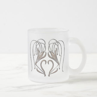 Snow Leopard Lily Frosted Glass Coffee Mug