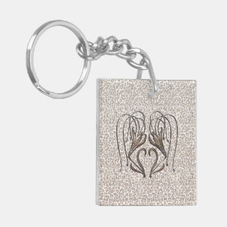 Snow Leopard Lily Keychain