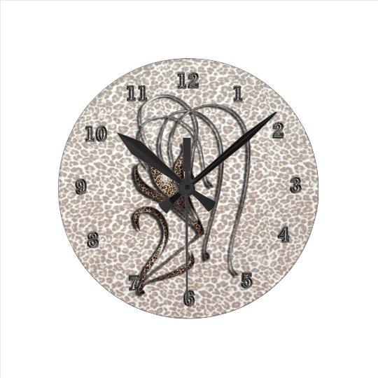 Snow Leopard Lily Round Clock