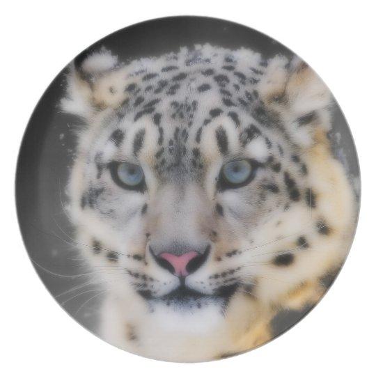 Snow Leopard Melamine Plate