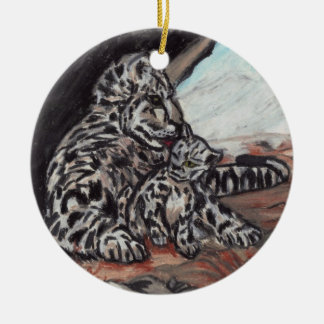 SNOW LEOPARD MOTHER AND CUB ornament
