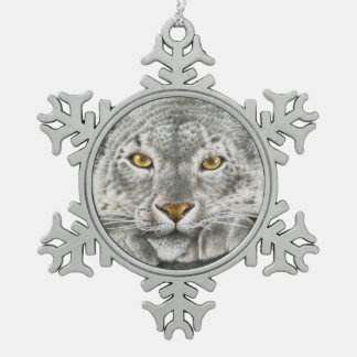 Snow Leopard Snowflake Pewter Christmas Ornament