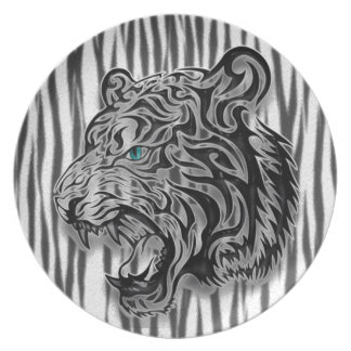 Snow Leopard Panther Abstract Print Dinner Plate