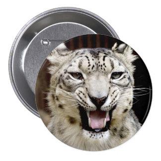 Snow leopard portrait button