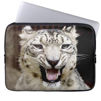 Snow leopard portrait laptop sleeve