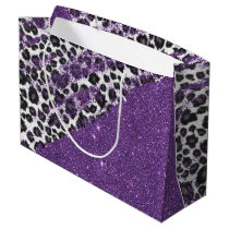 Snow Leopard Print Brushstrokes on Faux Glitter Large Gift Bag