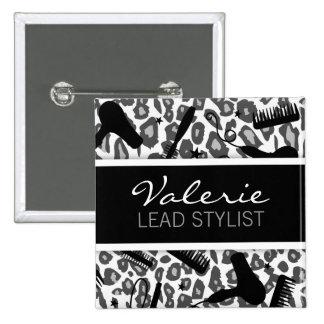 Snow Leopard Print (Custom) Hair Salon Name Badge Pinback Button