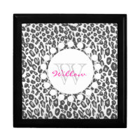 Snow Leopard Print Custom Monogram Gift Box