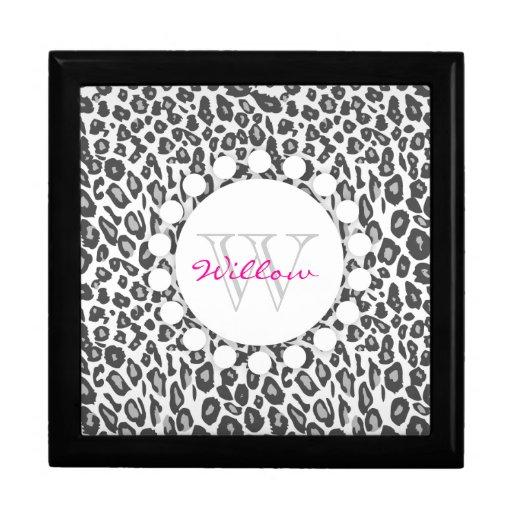 Snow Leopard Print Custom Monogram Gift Box