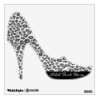 Snow Leopard Print Custom Text Stiletto Wall Cling Room Decal