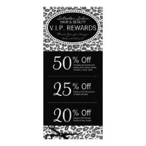 Snow Leopard Print Salon Coupons Specials Rack Card