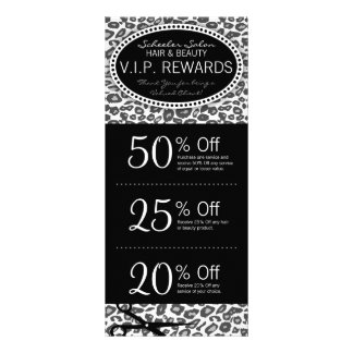 Snow Leopard Print Salon Coupons Specials Rack Card