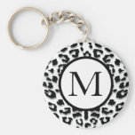 Snow Leopard Print with Custom Monogram Key Chain