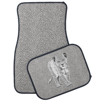 Snow Leopard Print With Leopard Cub on Back Mats