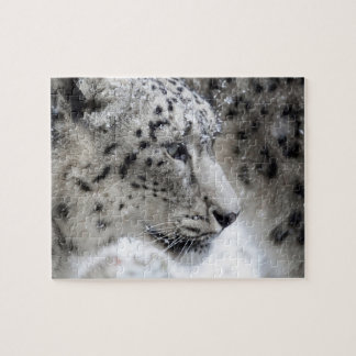Snow Leopard Profile in Snow Jigsaw Puzzle