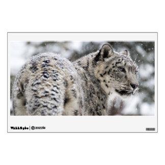 Snow Leopard Profile in Snow Wall Sticker