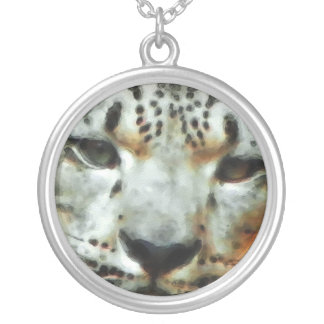 Snow Leopard Round Pendant Necklace