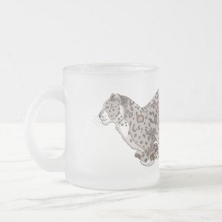 Snow Leopard Running 296 ml  Frosted Glass Mug