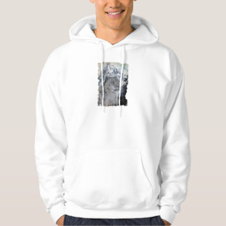 Snow Leopard & Snow, Mountains & Moon Wildlife Art Hoodie