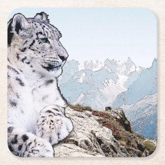 Snow Leopard Square Paper Coaster
