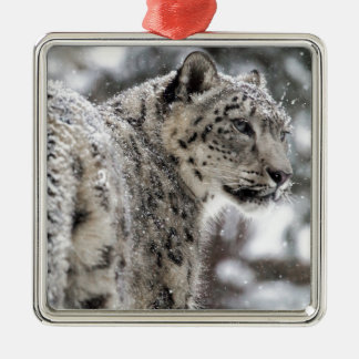 Snow Leopard Stands in the Snow Metal Ornament