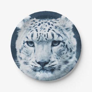 Snow Leopard Winter Snow Wildcat Nature Paper Plate