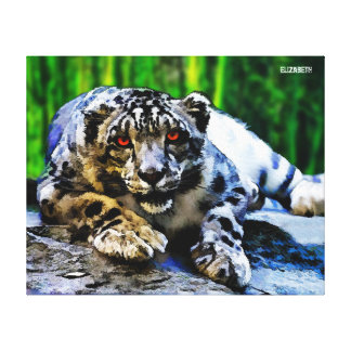 Snow Leopard With Red Eyes Drawing Canvas Print