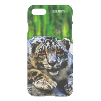 Snow Leopard With Red Eyes Drawing iPhone 7 Case