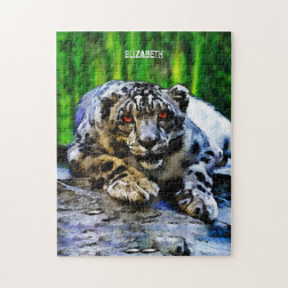 Snow Leopard With Red Eyes Drawing Jigsaw Puzzle
