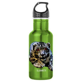 Snow Leopard With Red Eyes Drawing Stainless Steel Water Bottle