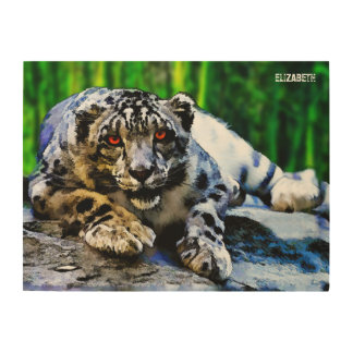 Snow Leopard With Red Eyes Drawing Wood Wall Art