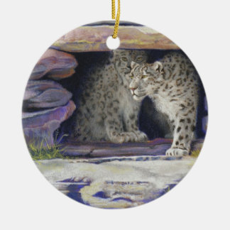 Snow Leopards Double-Sided Ceramic Round Christmas Ornament