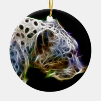 Snow lepoard Double-Sided ceramic round christmas ornament