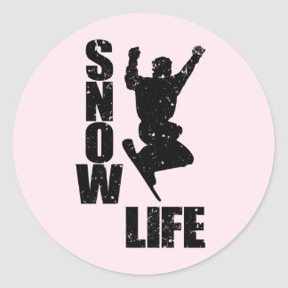 SNOW LIFE #3 (blk) Classic Round Sticker