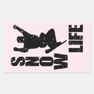 SNOW LIFE #3 (blk) Rectangular Sticker