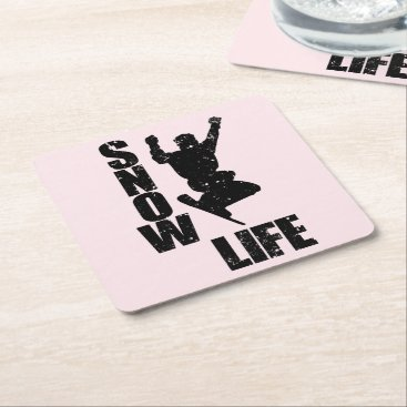 Beach Themed SNOW LIFE #3 (blk) Square Paper Coaster