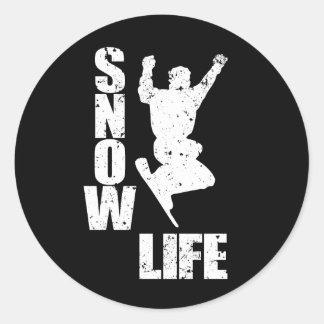 SNOW LIFE #3 (wht) Classic Round Sticker