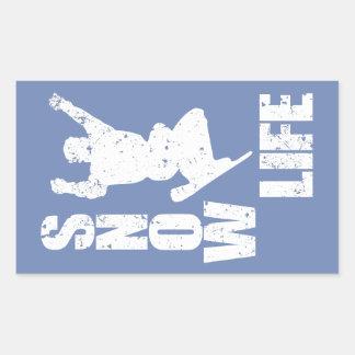SNOW LIFE #3 (wht) Rectangular Sticker