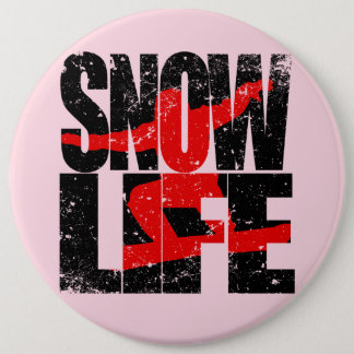 SNOW LIFE red boarder (blk) Button