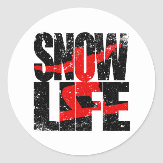 SNOW LIFE red boarder (blk) Classic Round Sticker