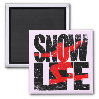 SNOW LIFE red boarder (blk) Magnet