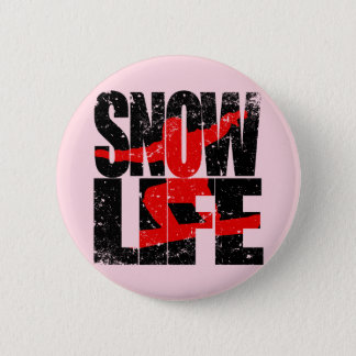 SNOW LIFE red boarder (blk) Pinback Button