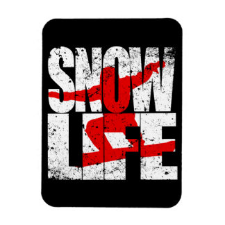 SNOW LIFE red boarder (wht) Magnet