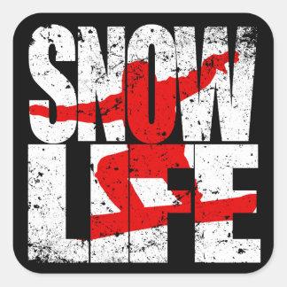 SNOW LIFE red boarder (wht) Square Sticker